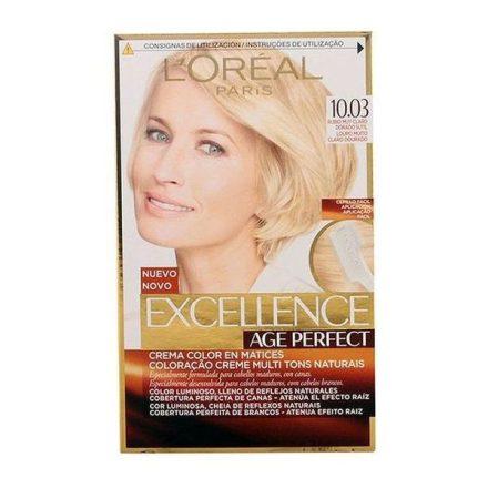 Tartós Öregedésgátló Hajfesték Excellence Age Perfect L'Oreal Expert Professionnel Világos aranyszőke MOST 6596 HELYETT 4493 Ft-ért!