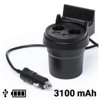 USB Autós Töltő Mobiltelefon Tartóval 3100 mAh 145534